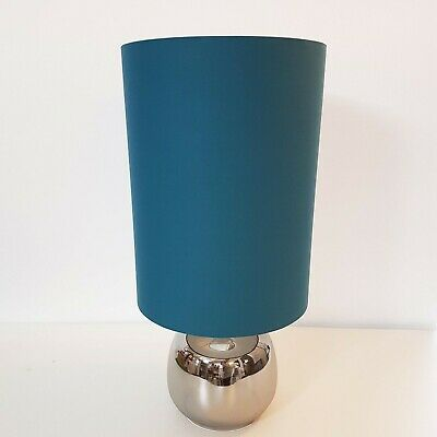 Extra Tall Lampshade Teal Blue Cotton Lightshade Slim