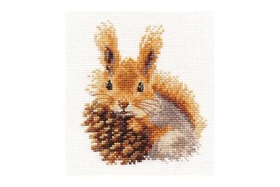 Alisa Cross Stitch Kit - Squirrel and Pine Cone