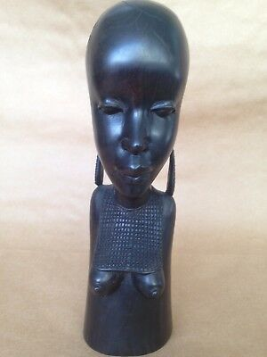 Hand Carved African Ebony Wood Head Bust Statue