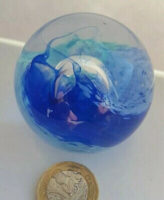 Glass Paperweight . Multi Coloured And Design collectable Caithness? . Engraved