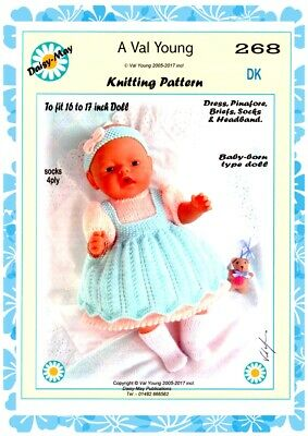 """DOLLS KNITTING PATTERN no 268 for Baby born or 16""""/17"""" doll. by Daisy-May."""