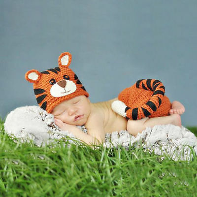 Cartoon Tiger Baby's Pants Hat For Baby's Photography Knitting Wool Clothing