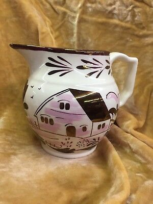 Ceramic Pitcher Copper Lusterware Grays Pottery Pink Ivory Signed Numbered