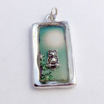 Pewter frame, sterling silver owl with moon pendant-resin, owls, bird, birds