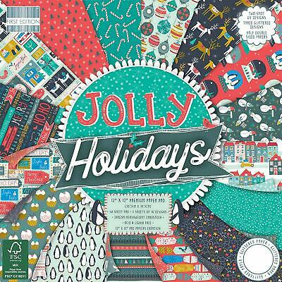 First Edition FEPAD182X18 Papiers 12x12-Jolly, Multicolore, Christmas-Jolly H...