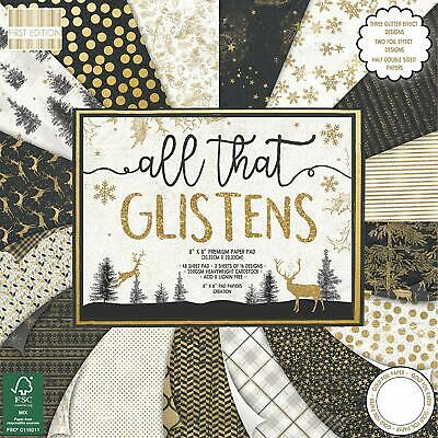 First Edition FEPAD177X18 Papiers 8x8-All Glistens, Multicolore, Christmas-Al...