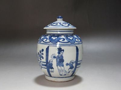 TH45 China Blue and white porcelain Old Tea Caddies Hand Painted woman and child