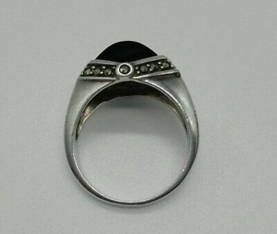 Art Deco Ring Faceted Polished Onyx and Marcasite in Sterling Silver Size O-UK.