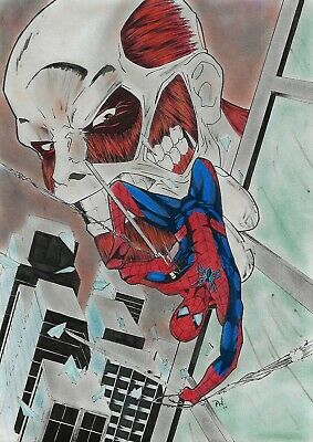 "Spiderman crossover (09""x12"") original comic art by Ph Gomes"