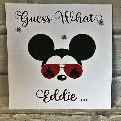 """Personalised """"SURPRISE - You Are Going To Disney"""" Card Minnie Mickey Disneyland"""
