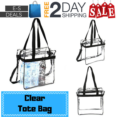 Eses Clear Tote Bag Heavy Duty PVC Transparent Stadium Thick Vinyl Work Games