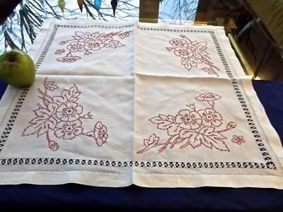 """Antique White Linen Centerpiece 24""""Sq Topper Tenerife Lace Turkey Red Embroidery"""