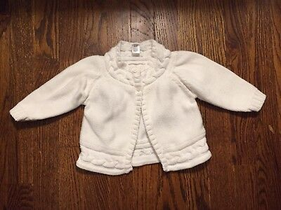 6c65f85a8f0 Baby Gap Girls White Cable Knit Button Sweater Cardigan Size 6-12 Months
