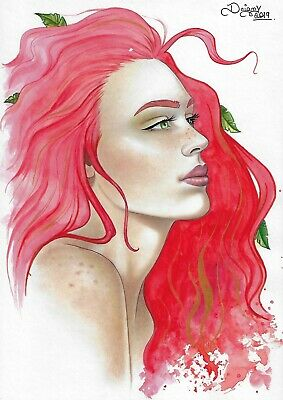 "🆕 Poison Ivy (09""x12"") original comic art by Daiany Lima - sexyart pinup"
