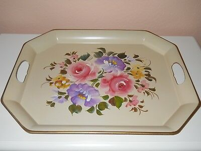 Vintage Toleware Nashco of New York Hand Painted Metal Tray...Gorgeous!