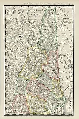 "1893 Rand McNally & Co.""New Hampshire""(Original Antique Lithograph Map,Color)"