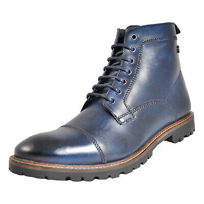 c19b6054077 BASE LONDON MENS Panzer Washed Leather Lace Up Trendy Work Ankle ...