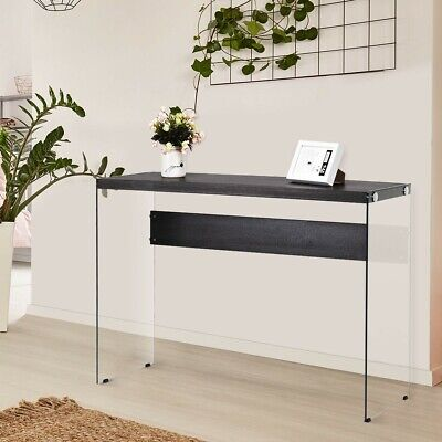 . BEDROOM ROOM ENTRANCE Soho Wooden Top Console Table With Tempered Glass  Legs US