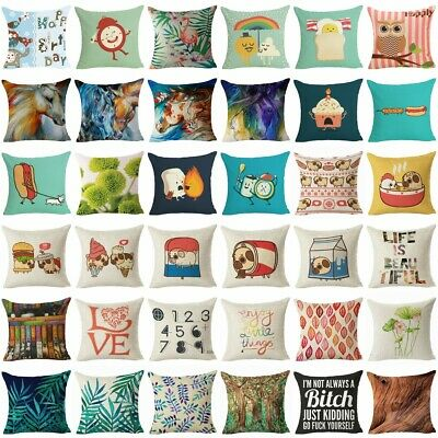 250 Style Cotton Linen Home Decor Pillow Case Sofa Waist Throw Cushion Cover