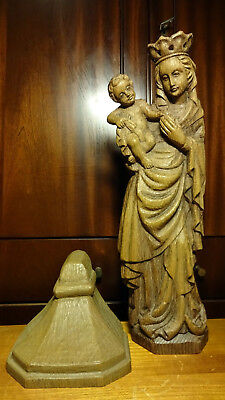 Vintage Bergmann hand carved wooden Our Lady Mary Madonna & Jesus statue + base