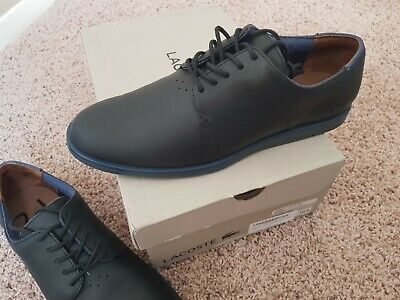 90fe2c3dd90cb Lacoste Men s LACCORD 417 1 CAM Leather Casual Black Shoes 10.5 Size US