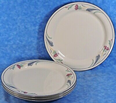 4 Lenox POPPIES ON BLUE Chinastone Dinner Plates- EUC