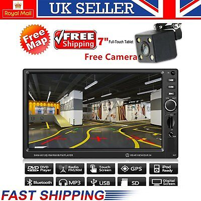 Backup Camera+GPS Double 2 Din Car Stereo Radio Player Bluetooth with Map li