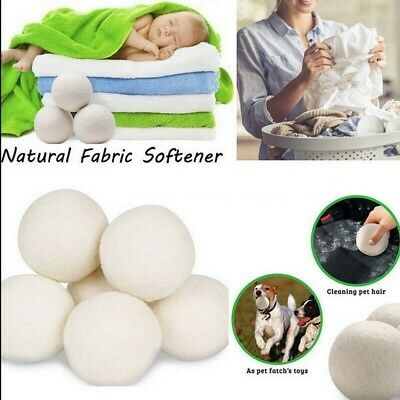 1/2/4/6Pcs Natural Reusable Laundry Supply Clean Practical Home Wool Dryer Balls