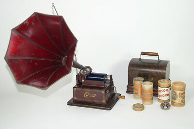 EDISON MODEL D MAROON GEM RED GEM PHONOGRAPH  2+4 Minute with C and N reproducer