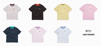 BTS BT21 Line Friends Official Short Sleeve Stripe pattern  Cotton T-Shirt BTS