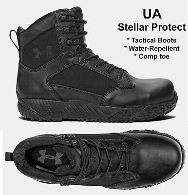 Mens Under Armour Stellar Protect Tactical Black Boots Waterproof Comp Toe NEW