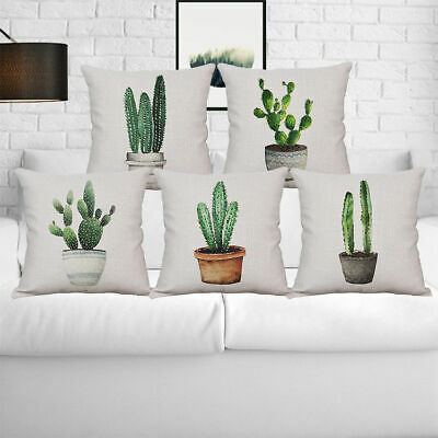 Cactus Pillow Case Cotton Linen Sofa Office Bed Cushion Cover Home Decoration