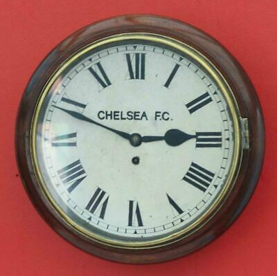 "Antique English Mahogany 8 Day Fusee 12"" Dial Clock Signed Chelsea Fc"