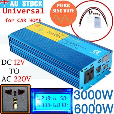 3000W-6000W Car Vehicle Power Inverter Pure Sine Wave DC 12V to AC 240V AU STOlb