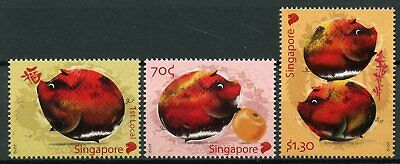 Singapore 2019 MNH Year of Pig 3v Set Chinese Lunar New Year Stamps