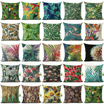 Green Tropical plant leaves Pillow Case Cotton Linen Sofa Square Cushion Cover