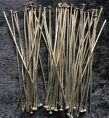 Head Pins - Silver - 50mm - 50 Pieces - Straightened - New