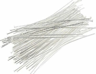 Head Pins - Bright Silver - 50mm - 50 Pieces - Straightened - New