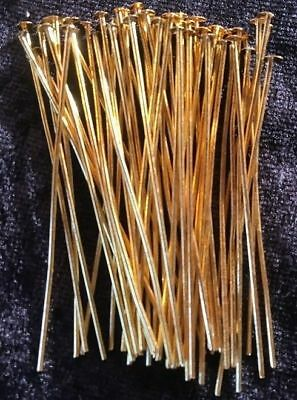 Head Pins - Gold - 50mm - 50 Pieces - Straightened - New