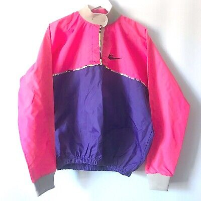 rare DART VTG 80's disco neon windbreaker pink sports top waterproof L oversized