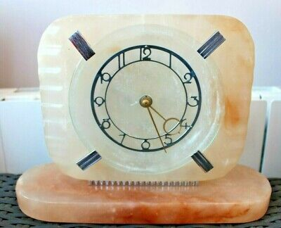 Good Looking Art Deco Onyx Cased  Mechanical Clock By Smiths England c1930s
