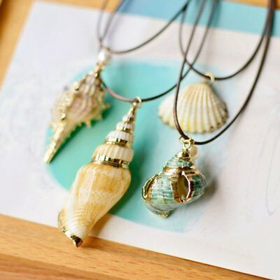 Vintage Natural Starfish Conch Seashell Pendant Necklace Rope Beach Shells Chain