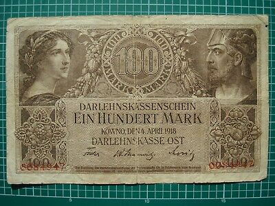 100 Mark 1918 Germany, Kowno Bank Note WW1