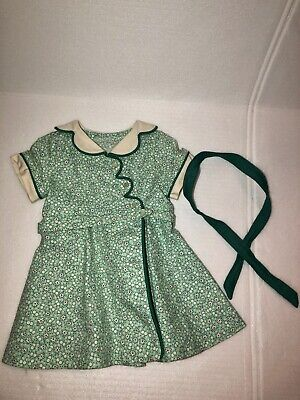 Kit Green Floral Dress & Ribbon American Girl Birthday Outfit Doll Clothes