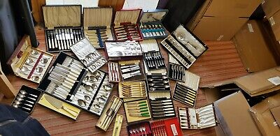A Job Lot Of 26 Boxes Of Vintage Silver Plated Cutlery.