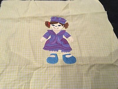 Embroidered Rag Doll On Yellow Gingham Cotton Square