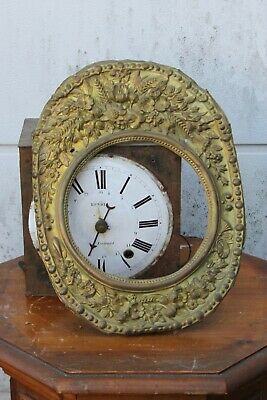 ANTIQUE FRENCH 1870 MORBIER COMTOISE WALL CLOCK for parts or restoration 7