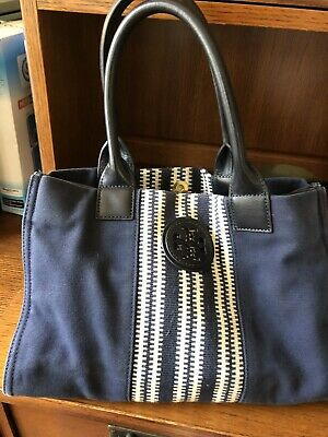 0a64b7b3b43c RARE AUTHENTIC TORY Burch Ella Shearling Tote Navy - $85.00 | PicClick