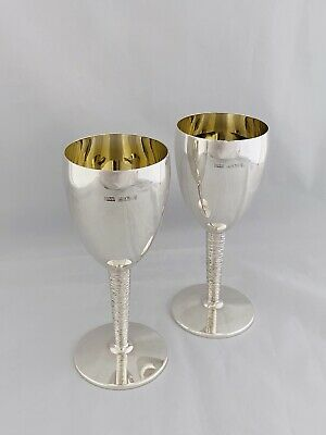 Pair Of Solid Silver Wine Cups Or Goblets 1975 Birmingham Silver Wedding Gift