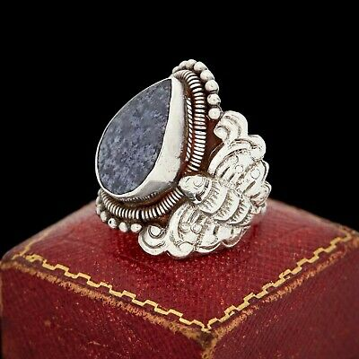 Antique Vintage Art Nouveau Sterling Silver Tibetan Chinese Sodalite Ring S 7.75